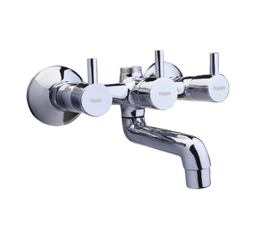 wall mixer with telephonic shower arrangement of L-bend pipe