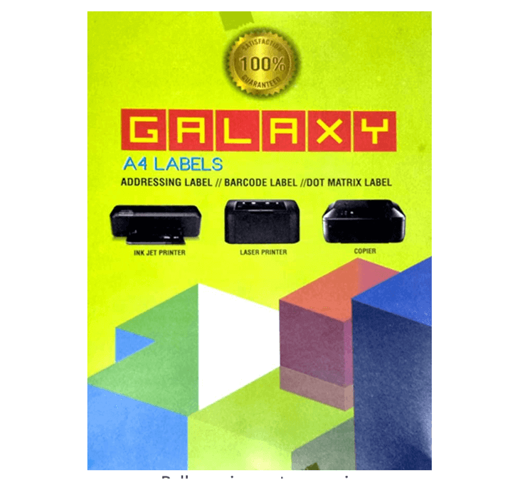 Galaxy A4 Sticky Labels (100 Sheets) (Addressing Label / Barcode Label / Dot Matrix Label)