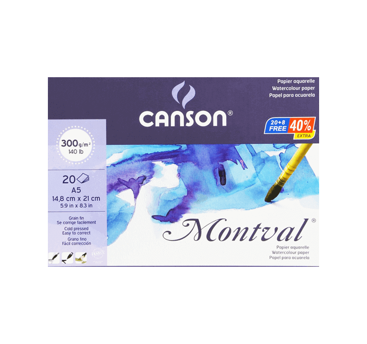Canson Montval (A5 Watercolour Paper) (300 GSM) (20 + 8 Sheets)