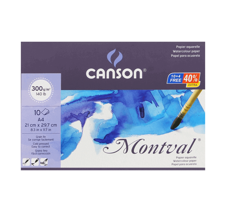 Canson Montval (A4 Watercolour Paper) (300 GSM) (10 + 4 Sheets)