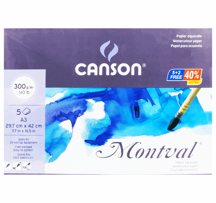 Canson Montval (A3 Watercolour Paper) (300 GSM) (5 + 2 Sheets)