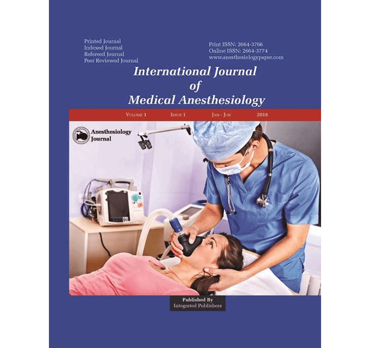 Buy International Journal Of Medical Anesthesiology